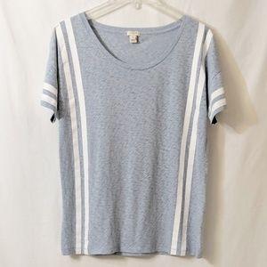 J Crew Sketched Cotton T shirt w/ stripes M